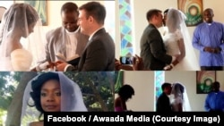 In a white strapless dress, her right stump still bandaged, Zanele Ndlovu-Fox said yes to her mate Jamie Fox, in a chapel of a hospital in Bulawayo, after being attacked by a crocodile, Zimbabwe, May 5, 2018. ( Facebook / Awaada Media)