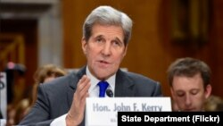 23일 미 상원 외교위원회 청문회에서 존 케리 국무장관이 발언하고 있다.