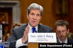 U.S. Secretary of State John Kerry delivers his opening statement to the Senate Foreign Relations Committee on Feb. 23, 2016, during an appearance on Capitol Hill in Washington, D.C.