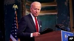 Presiden terpilih AS, JOe Biden, di The Queen theater, Wilmington, Delaware, 15 Januari 2021. (AP Photo/Matt Slocum)