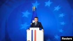 Фото з архівів: Еммануель Макрон на прес-конференції у Брюсселі,14 грудня 2018 року