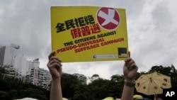 Người biểu tình cầm biểu ngữ xuống đường kêu gọi phủ quyết kế hoạch cải cách bầu cử tại Hồng Kông, ngày 14/6/2015.