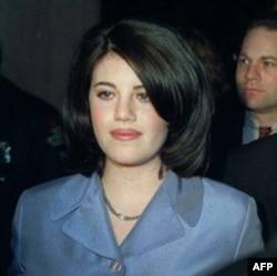 Monica Lewinsky leaving a Washington restaurant on February 21, 1998