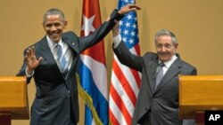 Президент США Бара Обама и президент Кубы Рауль Кастро. Гавана, Куба. 21 марта 2016 г.