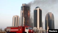 Пожар в высотном здании «Олимп» жилого комплекса «Грозный-Сити». Грозный, Чечня. 3 апреля 2013 года