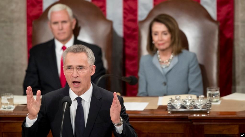 Tổng thư ký NATO Jens Stoltenberg đọc diễn văn tại lưỡng viện Quốc hội Mỹ ở Washington ngày 3/4/2019.