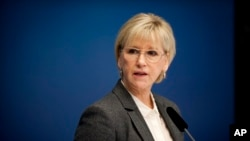 Sweden's Foreign Minister Margot Wallstrom talks during a news conference Thursday Oct. 30, 2014, at the government building Rosenbad, in Stockholm, after Sweden's new government officially recognized a Palestinian state.