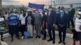 Primeiro-ministro de Cabo Verde, Ulisses Correia e Silva, à chegada da São Tomé e Príncipe, 22 de Setembro de 2021