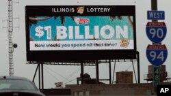 A digital billboard along I-90/94 highway in Chicago, displays the estimated Mega Millions jackpot, Oct. 19, 2018.