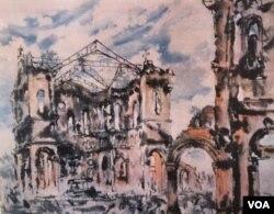 Nhà Thờ La Vang 1985, tranh màu nước trên giấy dó 41cm x 51cm của Hoạ sĩ Dương Phước Luyến.