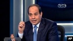 Abdel-Fattah el-Sissi en una entrevista en la televisión egipcia durante la campaña electoral.