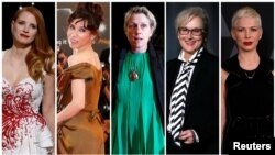 Nominees for the 75th Golden Globe Awards, Best Performance by an Actress in a Motion Picture, Drama category, (L-R) Jessica Chastain, Sally Hawkins, Frances McDormand, Meryl Streep and Michelle Williams are seen in a combination of file photos.