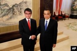 中国总理李克强近照, 2018年1月28日他在北京会见到访的日本外相河野太郎。