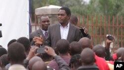 FILE - Presidential candidate Hakainde Hichilema addresses supporters in Lusaka, Zambia, Wednesday, Jan, 21, 2015.