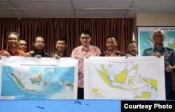 Officials from Indonesia's Ministry of Maritime Affairs and Fisheries launch the new map renaming part of the South China Sea to the North Natuna Sea. (Ministry of Maritime Affairs and Fisheries)