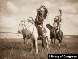 Photograph shows three Native Americans on horseback, 1905. Horses transformed tribal cultures and forever changed the way they hunted and fought in battle. Photograph by Edward S. Curtis, Curtis (Edward S.) Collection, Library of Congress Prints and Ph