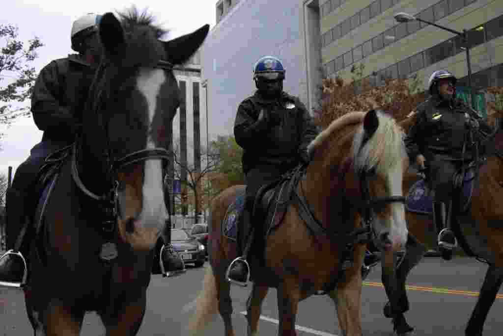 La policía de Washington escoltó a caballo a los manifestantes a lo largo de las calles capitalinas.