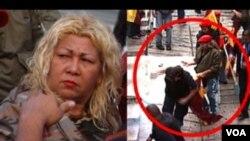 Las imágenes de Globovisión muestran a la dirigente chavista Lina Ron por un lado, y a los militantes que ingresaron a la sede del canal.