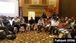 Dialog terbuka mengenai Papua yang digelar Amnesty International Indonesia di sebuah hotel di Jakarta, Kamis, 14 Februari 2019. (Foto: VOA/Fathiyah)