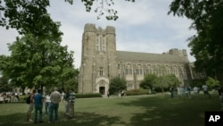 FILE - The campus of Duke University in Durham, North Carolina.