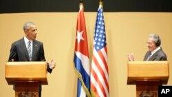 کنفرانس خبری روسای جمهوری آمریکا و کوبا در هاوانا