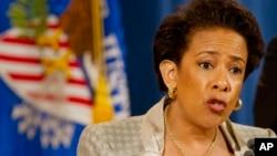 로레타 린치 미 법무장관이 8일 기자회견에서 볼티모어 경찰국에 대한 인권 침해 여부 조사 방침을 밝히고 있다.