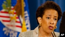 Bộ trưởng Loretta Lynch loan báo về cuộc điều tra Sở cảnh sát Baltimore trong 1 cuộc họp báo tại Bộ Tư pháp ở Washington, 8/5/2015.