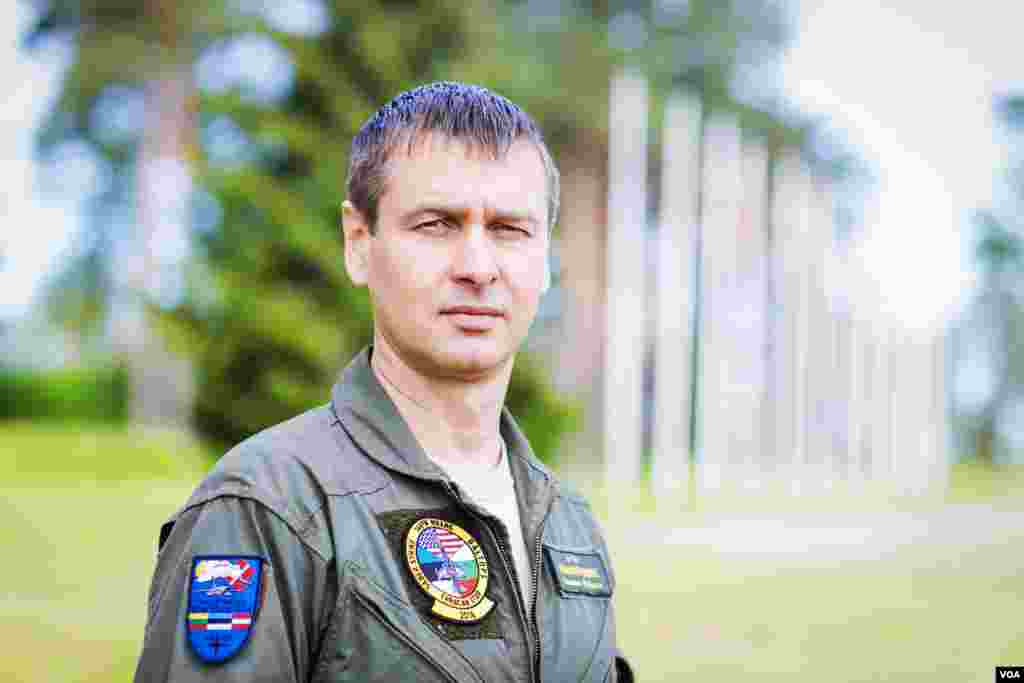 Lt. Col. Rauno Sirk, commander of Estonia's Amari Airbase, welcomes NATO pilots to the base, which has gone through $100 million in construction, since Russian troops left in 1994. (Vera Undritz/VOA)