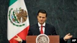 墨西哥总统恩里克·培尼亚·涅托在电视讲话中谈论他和川普的会晤(2016年11月9日)