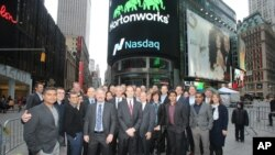 FILE - Hortonworks, Inc., a California software company, opened for trading on The Nasdaq Stock Market, Dec. 12, 2014.