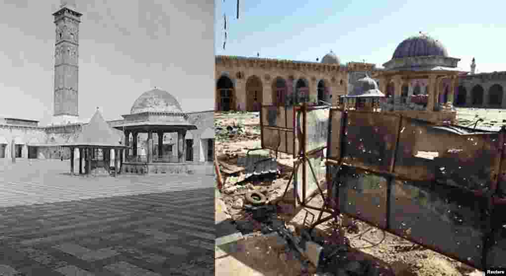 Threatened history: Grand Umayyad Mosque, Aleppo, Syria, originally begun in early 8th Century, now a World Heritage Site, heavily damaged by tank fire in 2013 (L) Ca. 1900-1920. American Colony (Jerusalem), Library of Congress (R) Free Syrian Army fighter walks in courtyard 8 July 2013. Reuters/Muzaffar.