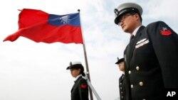 Các quan chức Đài Loan trong một cuộc tập trận vào 1/2018 để bày tỏ quyết tâm bảo vệ hòn đảo khỏi mối đe doạ Trung Quốc.