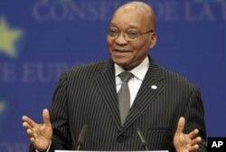 Le président Zuma au Conseil de l'Europe, à Bruxelles, le 28 mai