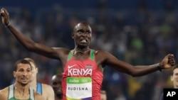 Le kényan David Rudisha deux fois médaillé d'or à Rio et à Londres et double champion du monde, à Pékin et à Daegu (Corée du Sud), 15 août 2016.