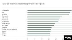En un año promedio entre 2004 y 2009, el número de muertes por habitante fue mayor en El Salvador que en Irak.