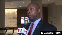 Republican Senator Tim Scott talks to VOA Persian in Washington, June 12, 2018.