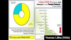 Grafik Persentase Kasus COVID-19 berdasarkan jenis pekerjaan dan lokasi tempat bekerja di Provinsi Gorontalo. (Foto: VOA/Yoanes Litha)