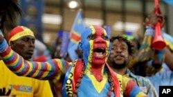 Les supporters de la RDC pour la CAN 2017 au stade d'Oyem, au Gabon, le 16 janvier 2017.