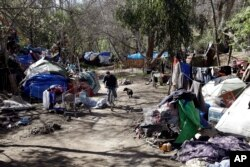 FILE - Tents are set up along a pathway in the Jungle, a homeless encampment in San Jose, California, March 11, 2014.