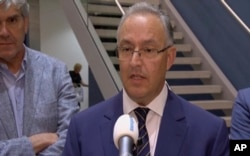In this image taken from video, Rotterdam Mayor Ahmed Aboutaleb speaks to reporters in his city, Aug. 23, 2017, after a concert by an American band was canceled as a result of a possible terror threat.