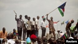 Southern Sudanese celebrate their first independence day in Juba, July 9, 2011.