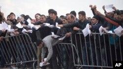 یک کمپ پناهجویان در منطقه مرزی یونان-مقدونیه