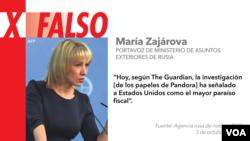 María Zajárova es la portavoz de Ministerio de Asuntos Exteriores de Rusia. [Gráfico: VOA]