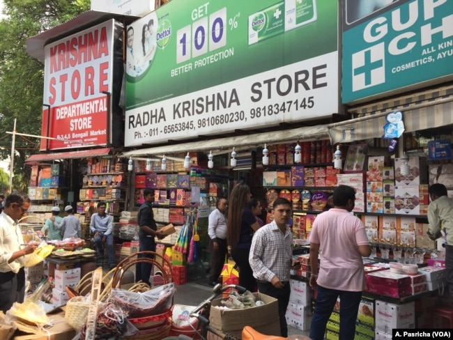 Shops in the Indian capital are stocked with gifts and sweets as the Hindu festival of Diwali approaches.