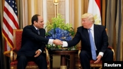 ABŞ prezidenti Donald Tramp Misir prezidenti Əbdül Fəttah Əl-Sisi ilə görüş zamanı