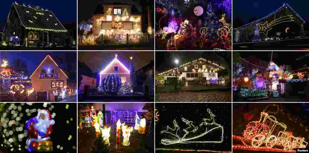 A combination of pictures shows houses and decorations illuminated ahead of Christmas in German cities of Berlin, Hamburg-Heimfeld, Moenchengladbach, Olching and Stolberg.