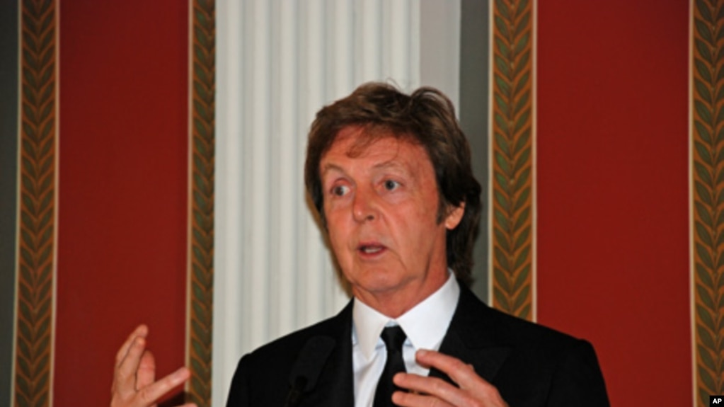 Former Beatle Paul McCartney Speaks At A News Conference Before The White House Event