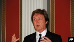 Former Beatle Paul McCartney speaks at a news conference before the White House event. (Washington, DC)