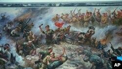 중국군의 한국전 참전을 묘사한 북한 그림. (자료사진)