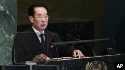 Wakil Menlu Korea Utara, Pak Kil Yon, membacakan pidatonya di hadapan Sidang Umum PBB di addresses ke-67 di Markas Besar PBB, New York (1/10).